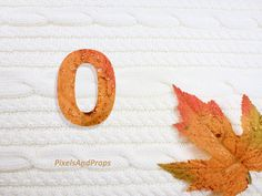 Uppercase letter O with glitter leaf and sweater knit. #fall #autumn #alphabet #typography #initial #monogram #font | maple leaf
