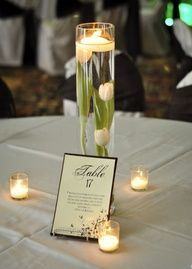 Submerged flower and floating candle centerpiece.  Love it!