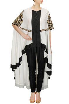 Sonali Gupta presents White and black embroidered cape with black pants available only at Pernia's Pop-Up Shop. Abaya Fashion, Kimono Fashion, Fashion Dresses, Iranian Women Fashion, Indian Fashion, Kurta Designs, Blouse Designs, Only Fashion, Plus Size Fashion