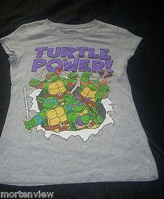 JUNIOR-GIRLS-TURTLE-POWER-GRAY-NINJA-TURTLES-GRAPHIC-TEE-SHIRT-LARGE