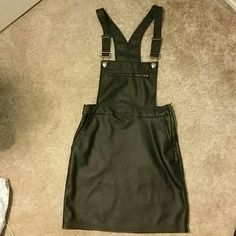 DONATING TODAY-NWT Overall dress Leather, never worn, zipper on side and pockets H&M Dresses