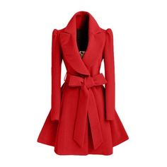 Rotita Red Turndown Collar Belt Design Coat (155 RON) ❤ liked on Polyvore featuring outerwear, coats, red, wool coat, long red coat, single breasted wool coat, long sleeve coat and print coat