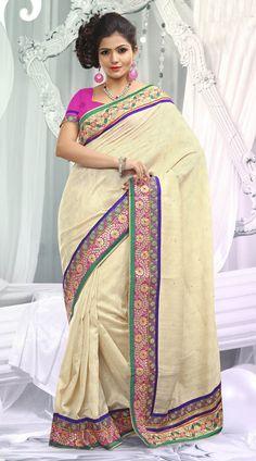 Cream Border Embroidered Bhagalpuri Jacquard Silk Bridesmaid Saree