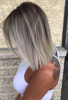 Shoulder length haircuts with best trends of ash blonde ombre highlights 2017 2018.