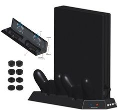 Sale 4 in 1 Vertical Stand with Dual Cooling Fans+Dual Controller Charging Station+3 Extra HUB Ports For PS4 Pro PS4P Console+8 CAPS #Vertical #Stand #with #Dual #Cooling #Fans+Dual #Controller #Charging #Station+3 #Extra #Ports #PS4P #Console+8 #CAPS