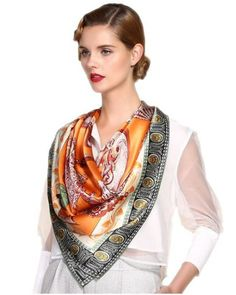 Euro Style Orange Women Silk Satin Scarf 106*106cm Screen Print Hand Roll