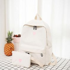 Cute Backpacks, Girl Backpacks, School Backpacks, Canvas Backpacks, School Bags For Girls, Girls Bags, Kit Mochila, Aesthetic Backpack, Yellow Backpack