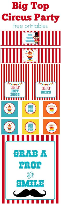 We Heart Parties: Free Printables Big Top Circus Party Free Printables Circus Carnival Party, Kids Carnival, Circus Theme Party, Carnival Birthday Parties, Carnival Themes, Circus Birthday, Birthday Party Themes, Circus Food, Circus Cakes