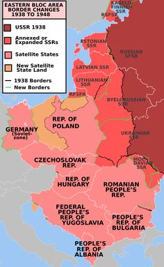EasternBloc BorderChange38-48 - World War II - Wikipedia, the free encyclopedia \ Post-war Soviet territorial expansion; resulted in Central European border changes, the creation of a Communist Bloc, and start of the Cold War