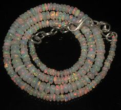 """35CRT 2-5 MM 16"""" STRAND NATURAL ETHIOPIAN WELO FIRE OPAL  BEADS NACKLACE- 57188"""