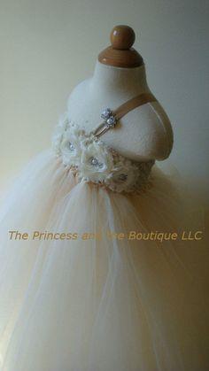 Flower girl dress Ivory, Champagne tutu dress, roses, baby tutu dress, toddler tutu dress,newborn-24, 2t,3t,4t,5t, birthday on Etsy, $74.00
