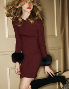 Alice+Olivia burgundy + black. Minus the puffy part this would be a nice outfit for fall. I love the boots.
