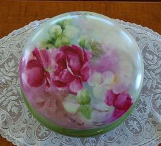 Image detail for -Antique Limoges France Hand Painted Porcelain Powder Box ~Roses~ from ...