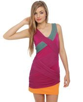 Extraordinary Mesh-ure Fuchsia Color Block Dress