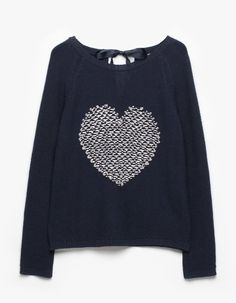 Two-tone embroidered heart jersey - KNITWEAR - WOMAN | Stradivarius Croatia
