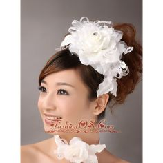 Exquisite Ribbons Flower Organza Bridal Fascinators ❤ liked on Polyvore