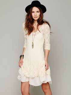 Free People Long-Sleeve Lace Dropwaist Dress at Free People Clothing Boutique