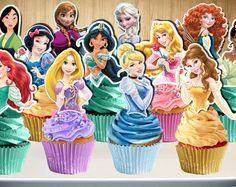 Disney Princess Cupcake Toppers, 12 Disney Princesses Cupcake Toppers, Disney Frozen Cupcake Picks, Digital File, You Print