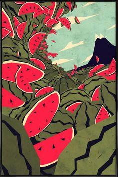 Watermelon surf dream Art Print by alphabinocular Art And Illustration, Watermelon Art, Ap Art, Dream Art, Hanging Art, Art For Sale, Art Inspo, Graphic Art, Cool Art