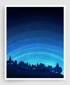 Earth calling (vertical) - Nature Art Home decor Wall decor Wall art Print Poster Modern Nature drawing Turquoise Blue Night sky Space signs
