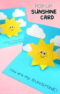 You Are My Sunshine Card Easy Pop Up Sun Card Template Diy Father S Day Cards Diy Pop Up Cards Pop Up Greeting Cards