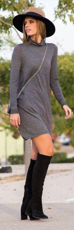 Shift Sweater Dress Fall Inspo by Ms Treinta