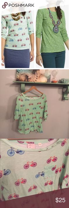 """Postmark banter tee bundle Dotted and bicycle print banter tops by postmark. Both xs. Both excellent condition. Bust 16.5"""". Length 25"""". Both have cute little buttons at the neckline and on the sleeves. 3/4 length sleeves Anthropologie Tops Tees - Long Sleeve"""