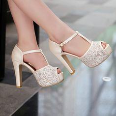 Glitter Peep Toe Womens T-Strap Pumps Platform High Heels Wedding Party Shoes Sz Lace Up Heels, Pumps Heels, Stiletto Heels, Heeled Sandals, Sandals Outfit, Nude Sandals, Platform High Heels, High Heel Boots, Shoe Boots