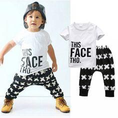 2afbe6a8efe3 Tops + Harem Letter White Cotton Pants 2pcs Set Boys 0-5Y 2pcs Clothes Sets  2016 Summer Baby Boy Clothing Toddler Casual T-shirt
