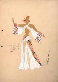 Erté, Costume Sketch, '#8670' , 1947.
