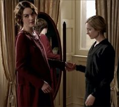 .pregnant Lady Mary with her Lady's Maid, Anna. Downton Abbey. Season 3