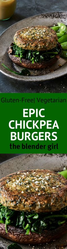 Spinach Chickpea Veggie Burgers  | The Blender Girl
