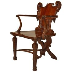 Georgian carved mahogany hall chair featuring a shield-form back and supported by two fluted, tapered four-sided legs and an x-form back leg joined together by a tricorne stretcher. Beauty In Art, Chair Bench, Art Furniture, Diy Wood Projects, Georgian, Creative Art, Armchair, Woodworking, Carving
