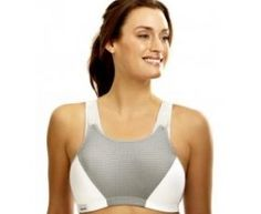 c25cbce569 Glamorise Plus Size Sports Bra For Wirefree Motion Control (White Grey