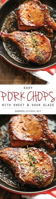 Easy Pork Chops with Sweet and Sour Glaze - Added brown sugar. The easiest, no-fuss, most amazing pork chops ever, made in 20 min from start to finish. Pork Recipes, Paleo Recipes, Cooking Recipes, Easy Pork Chop Recipes, Easy Cooking, Chops Recipe, Pork Dishes, Main Meals, Meat Recipes