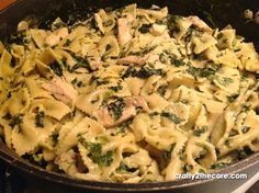 Grilled Chicken Florentine Pasta -  chicken and spinach in a creamy rich parmesan sauce with bowtie pasta. by Crafty 2 the Core}  | crafty2thecore.blogspot.com