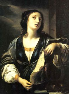 Allegory of Music - ELISABETTA SIRANI. Elisabetta Sirani was an Italian Baroque painter and printmaker who died in still-unexplained circumstances at the early age of 27. Bologna, Italy (1638-1665)