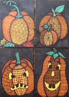 Artwork By Tracy Anderson Aka Tandy Zentangle Pumpkins For A ; grafik durch tracy anderson aka tandy zentangle kürbise für a ; Halloween Art Projects, Fall Art Projects, Classroom Art Projects, School Art Projects, Art Classroom, Halloween Artwork, Art Plastique Halloween, Arte Elemental, October Art