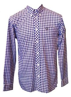 www.brokencherry.com #fredperry #mod #fashion  Blue Gingam Men's Shirt   $131.00