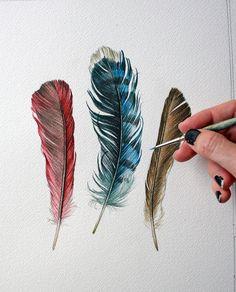 Peinture originale de plume par jodyvanB sur Etsy