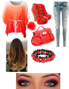 """tangerine"" by pbe14 ❤ liked on Polyvore"