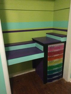 Built in custom closet desk with crafty storage drawer! Love these colours!!