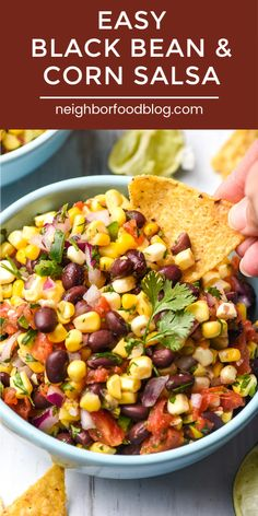 This easy Black Bean and Corn Salsa recipe is great for snacking, but I also love adding it to tacos, salads, and grilled meats. It's made with simple ingredients and can be ready in 15 minutes! Black Bean Salad Recipe, Black Bean Recipes, Bean Salad Recipes, Corn Salsa Recipes, Corn Salsa Salad Recipe, Black Beans Recipe Easy, Black Bean And Corn Dip Recipe, Keto Salsa Recipe, Chipotle Copycat Recipes