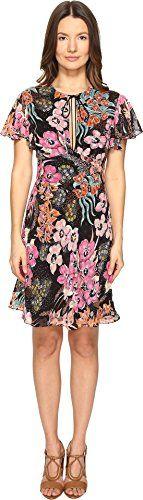Just Cavalli Women's Flower Power Print Flutter Sleeve Dress Black Variant Dress