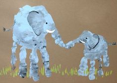 Elephant mom and baby handprint . also other ideas for hand/footprint art Projects For Kids, Diy For Kids, Crafts For Kids, Children Crafts, Crafts With Baby, Family Art Projects, Daycare Crafts, Rainy Day Activities For Kids, Toddler Activities