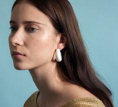 vintage white hoop earrings