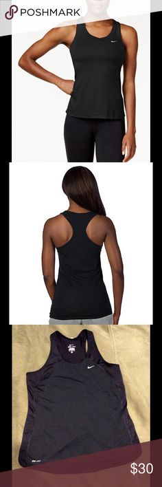 Nike tank Athletic Top NEW NIKE Black Dri-Fit Racerback Top NEW SZ M Stay ahead of the competition in this lightweight women's tank from Nike. MSRP $55 PRODUCT FEATURES • Perfect for medium-impact exercise • Dri-FIT moisture-wicking technology • Breathable construction • Reflective details • Racerback • Scoopneck - left white Swoosh FABRIC & CARE • Polyester • Machine wash • Imported Nike Tops Tank Tops