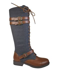 Look what I found on #zulily! Gray & Chestnut Buckle Montana Boot by Bamboo #zulilyfinds