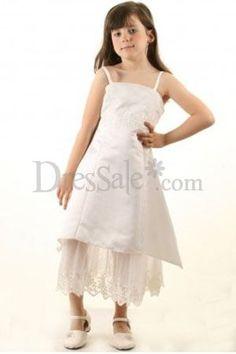 Cute White Tea-Length Deft White Flower Girl Dress