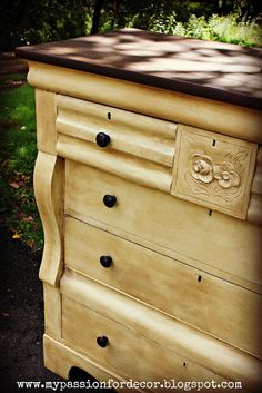 Creamy Butter Yellow Dresser Redo. I have just the piece of furniture to do this with:)
